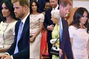 Szykowna i rozpromieniona księżna Meghan z mężem i królową na gali w Pałacu Buckingham (ZDJĘCIA)