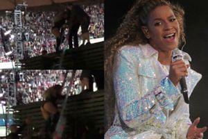 Beyonce UTKNĘŁA na scenie podczas koncertu w Warszawie! Musiała schodzić po drabinie... (WIDEO)