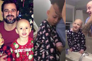 Hit sieci: tata ogolił głowę na znak solidarności z córką (WIDEO)