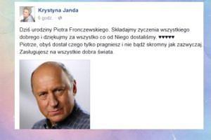 Krystyna Janda składa życzenia Fronczewskiemu