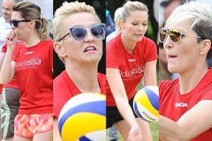 Agnieszka Hyży, Odeta Moro i Magda Steczkowska próbują grać w siatkówkę... (ZDJĘCIA)