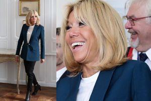 Brigitte Macron pozuje z meblami. Dobra z niej modelka? (ZDJĘCIA)