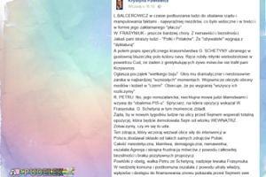 """Krystyna Pawłowicz o Frasyniuku: """"Chory. Z nienawiści i bezsilności"""""""