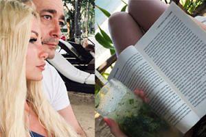 """Roxi Gąska w """"raju"""" pozuje z książką o... PASOŻYTACH W MÓZGU! (FOTO)"""