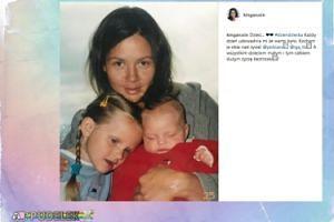 Kinga Rusin na starym zdjęciu z córkami