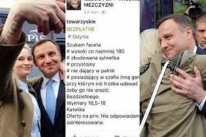 """""""Ulubienica"""" Prezydenta szuka faceta na Facebooku: """"Wymiary 16,5-18 centymetrów"""""""