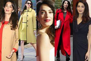 Szpilki, drogie torebki i sukienki vintage: zobaczcie ciążowe stylizacje Amal Clooney (ZDJĘCIA)