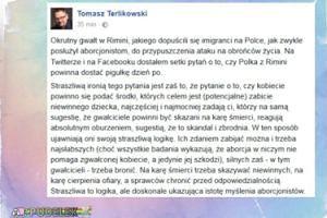 """Terlikowski: """"Dostałem setki pytań o to, czy Polka z Rimini powinna dostać pigułkę dzień po"""""""