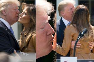 Słodkie pocałunki Donalda i Melanii w Ogrodzie Różanym Białego Domu (ZDJĘCIA)
