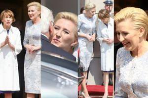 Agata Duda w błękicie żartuje z Pierwszą Damą Niemiec (ZDJĘCIA)
