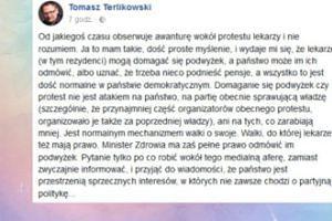 """Terlikowski o proteście rezydentów: """"Jest normalnym mechanizmem walki o swoje"""""""