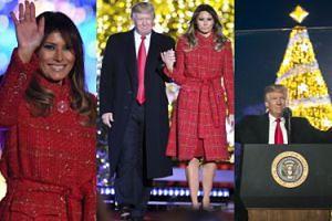 Wystrojona Melania i zadowolony Donald zapalają choinkę przed Białym Domem (ZDJĘCIA)