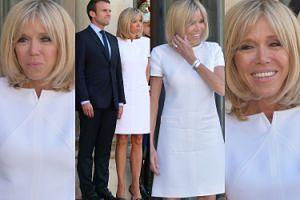 Opalona Brigitte Macron w wygniecionej sukience wita się z prezydentem Gwatemali (ZDJĘCIA)