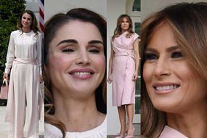 Różowa Melania i kremowa Rania na spotkaniu w Białym Domu (ZDJĘCIA)