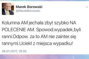 """Marek Borowski: """"Macierewicz uciekł z miejsca wypadku!"""""""