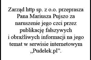 Przeprosiny dla Pana Mariusza Pujszo