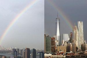Tęcza nad Nowym Jorkiem. W 14. rocznicę zamachu