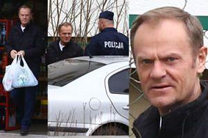 TYLKO U NAS: Tusk nosi torby z zakupami i gawędzi z policjantami (ZDJĘCIA)