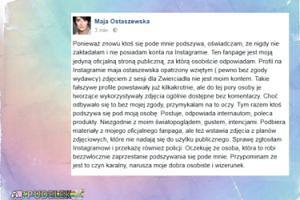 Maja Ostaszewska walczy z internetową fałszywką