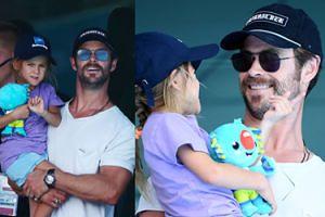 Chris Hemsworth zabrał córkę na zawody pływackie. Przystojny z niego tatuś? (ZDJĘCIA)