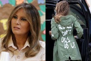 """Melania Trump na spotkanie z odebranymi imigrantom dziećmi poleciała w kurtce z napisem """"Nie obchodzi mnie to""""... (ZDJĘCIA)"""