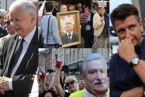 Uśmiechnięty Kaczyński, tłumy sympatyków PiS i kontrmanifestanci na obchodach miesięcznicy smoleńskiej (ZDJĘCIA)
