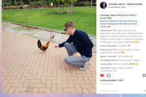 Marcin Mroczek karmi kury w parku