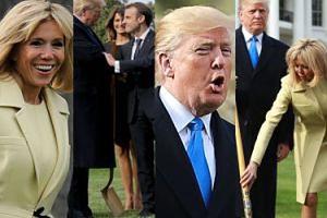 Emmanuel i Brigitte Macron odwiedzili Trumpa i zasadzili dąb (ZDJĘCIA)