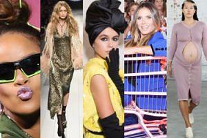 Tak wyglądał tydzień mody w Nowym Jorku: debiut córki Cindy Crawford, Rihanna na motorze, Gigi bez buta, modelka w ciąży... (ZDJĘCIA)