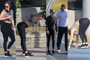 """Jennifer Lopez zabrała chłopaka na """"spontaniczny"""" trening na ulicy (ZDJĘCIA)"""