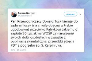 """Tusk pozywa Jakiego za """"skandalicznego mema"""""""