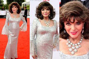 """Dekolt niemal już 84-letniej Joan """"Alexis"""" Collins na czerwonym dywanie (ZDJĘCIA)"""