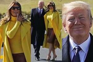 Melania w stylizacji za 70 TYSIĘCY i ucieszony Donald wylatują do Ohio (ZDJĘCIA)