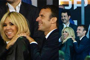 Czułości Macronów na finale rozgrywek rugby (ZDJĘCIA)