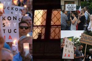 Protestujący poszli pod dom Jarosława Kaczyńskiego! Powitała ich... kotka Fiona (ZDJĘCIA)