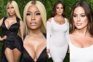 Ściśnięte piersi Nicki Minaj i Ashley Graham wspierają młodych projektantów (ZDJĘCIA)