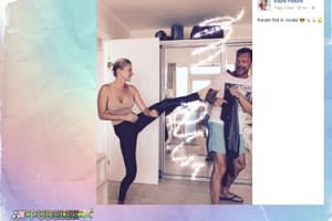 Edyta Pazura ćwiczy karate na mężu