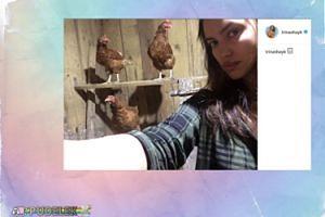 Irina Shayk pozuje w kurniku