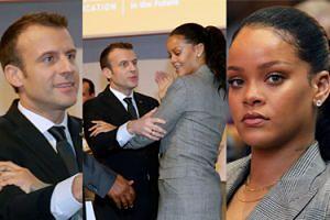 Dziwne uściski Macrona i Rihanny na konferencji charytatywnej w Senegalu (ZDJĘCIA)
