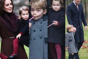 Książę George i księżniczka Charlotte z rodzicami na świątecznej mszy (ZDJĘCIA)