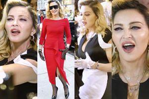 Podekscytowana Madonna z otwartymi ustami demonstruje możliwości swoich kosmetyków (ZDJĘCIA)