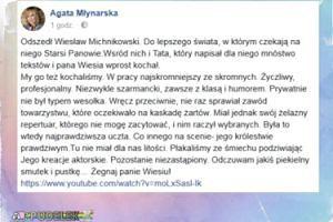 Agata Młynarska żegna Wiesława Michnikowskiego