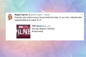 Tak Magdalena Ogórek pożegnała Zbigniewa Wodeckiego. DNO? (FOTO)