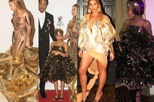 Złota Beyonce i Blue Ivy w kasku na głowie pozują na charytatywnej gali (ZDJĘCIA)