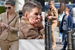 Zamyślona Joanna Racewicz idzie z synem do restauracji (ZDJĘCIA)