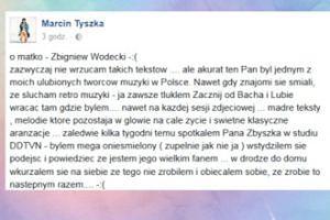 """Marcin Tyszka: """"Zaledwie kilka tygodni temu spotkałem Pana Zbyszka w studiu DDTVN"""""""