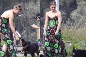 Rozbawiona Głogowska bawi się ze szczeniakiem w parku (WIDEO)