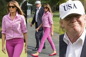 Stylowa Melania w różu i ucieszony Donald wracają z rodzinnego weekendu (ZDJĘCIA)