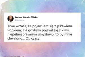 """Korwin-Mikke komentuje zbliżenie do Popka: """"Gybym pojawił się z kimś niepełnosprawnym umysłowo, to by mnie chwalono"""""""
