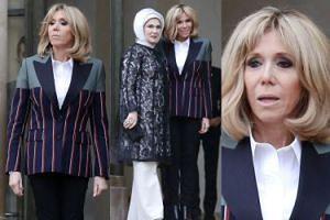 Odmłodzona Brigitte Macron przyjmuje w Paryżu pierwszą damę Turcji (ZDJĘCIA)